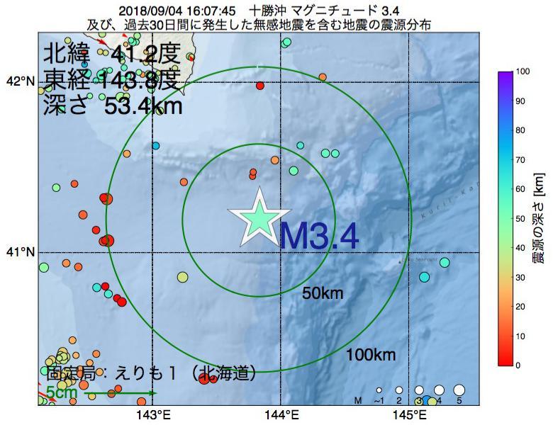 地震震源マップ:2018年09月04日 16時07分 十勝沖でM3.4の地震