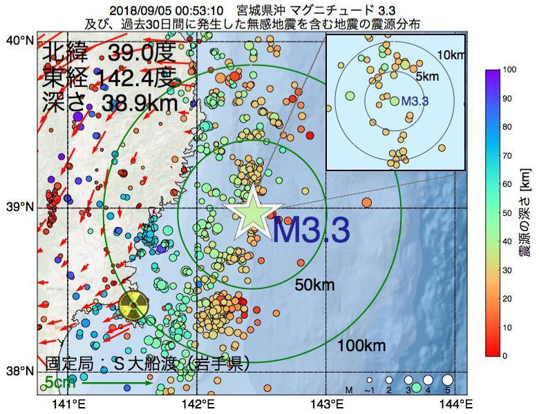 地震震源マップ:2018年09月05日 00時53分 宮城県沖でM3.3の地震