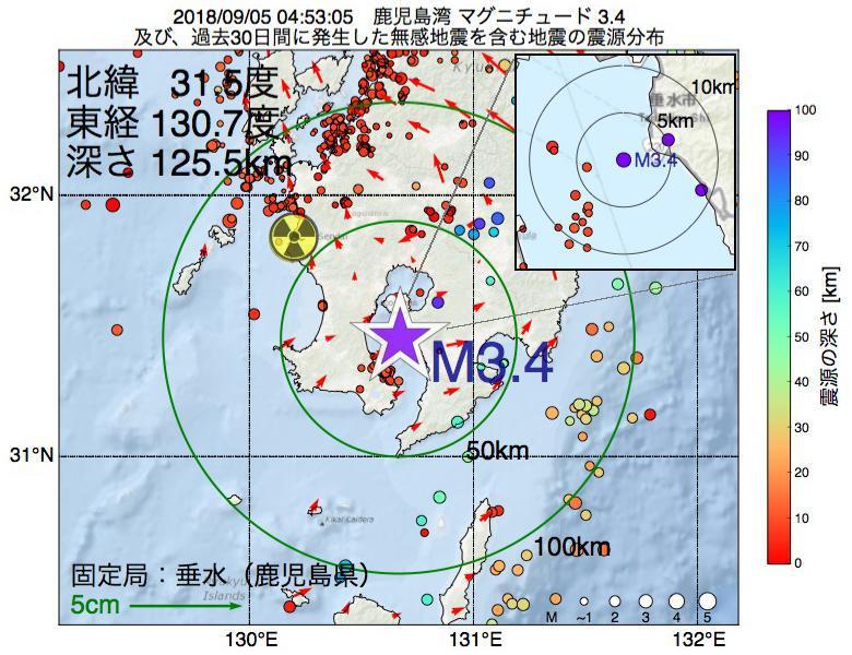 地震震源マップ:2018年09月05日 04時53分 鹿児島湾でM3.4の地震