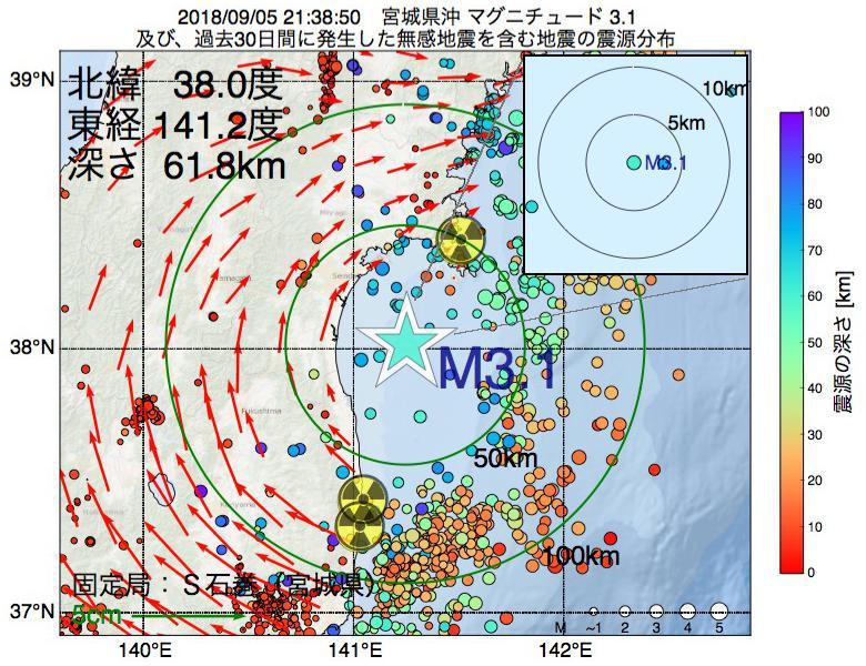 地震震源マップ:2018年09月05日 21時38分 宮城県沖でM3.1の地震
