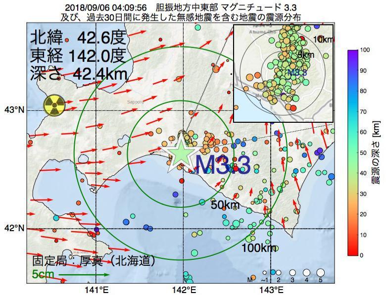 地震震源マップ:2018年09月06日 04時09分 胆振地方中東部でM3.3の地震