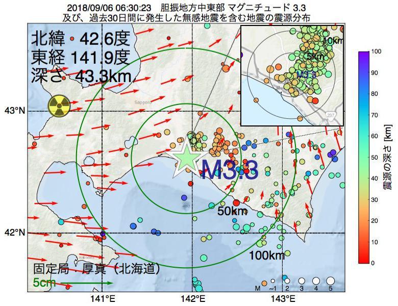 地震震源マップ:2018年09月06日 06時30分 胆振地方中東部でM3.3の地震