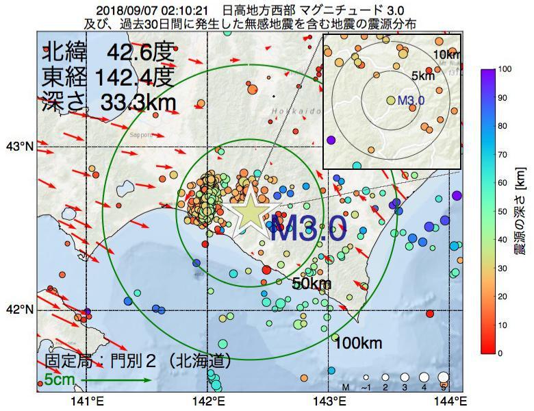 地震震源マップ:2018年09月07日 02時10分 日高地方西部でM3.0の地震