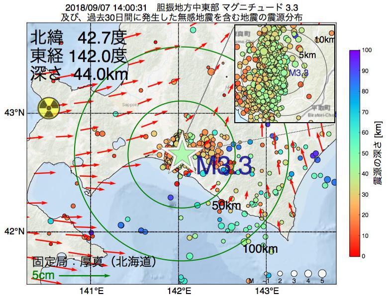 地震震源マップ:2018年09月07日 14時00分 胆振地方中東部でM3.3の地震