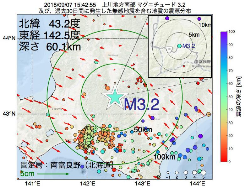 地震震源マップ:2018年09月07日 15時42分 上川地方南部でM3.2の地震