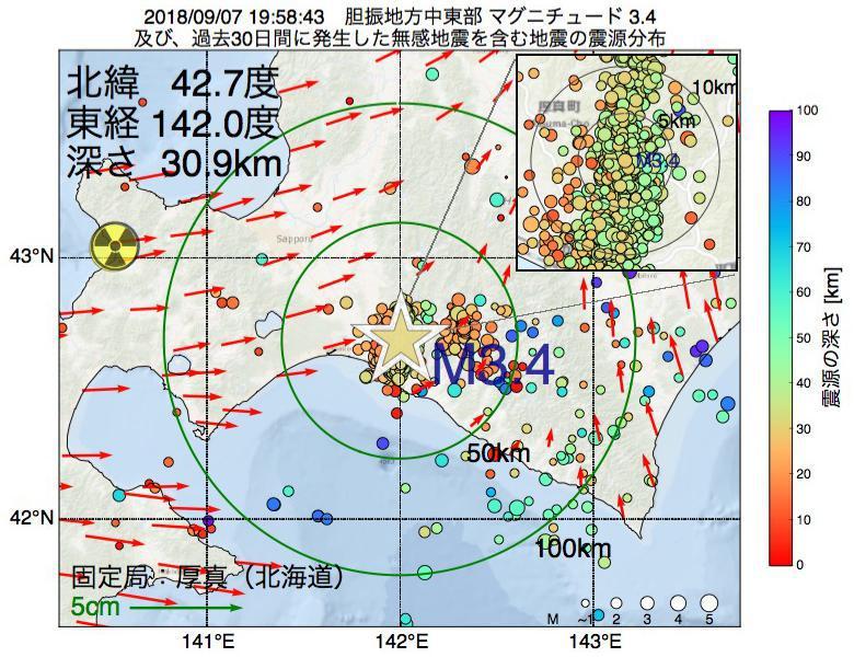 地震震源マップ:2018年09月07日 19時58分 胆振地方中東部でM3.4の地震