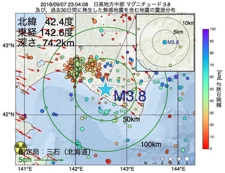 地震震源マップ:2018年09月07日 23時04分 日高地方中部でM3.8の地震