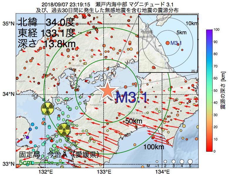地震震源マップ:2018年09月07日 23時19分 瀬戸内海中部でM3.1の地震