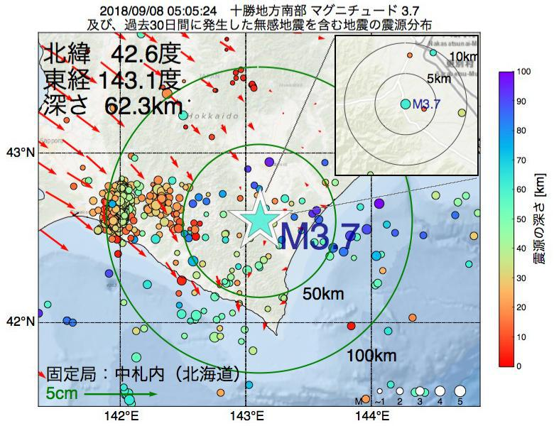 地震震源マップ:2018年09月08日 05時05分 十勝地方南部でM3.7の地震