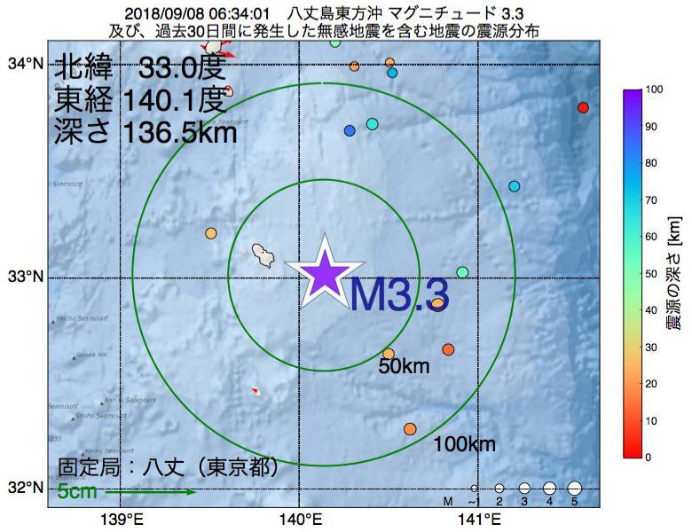 地震震源マップ:2018年09月08日 06時34分 八丈島東方沖でM3.3の地震