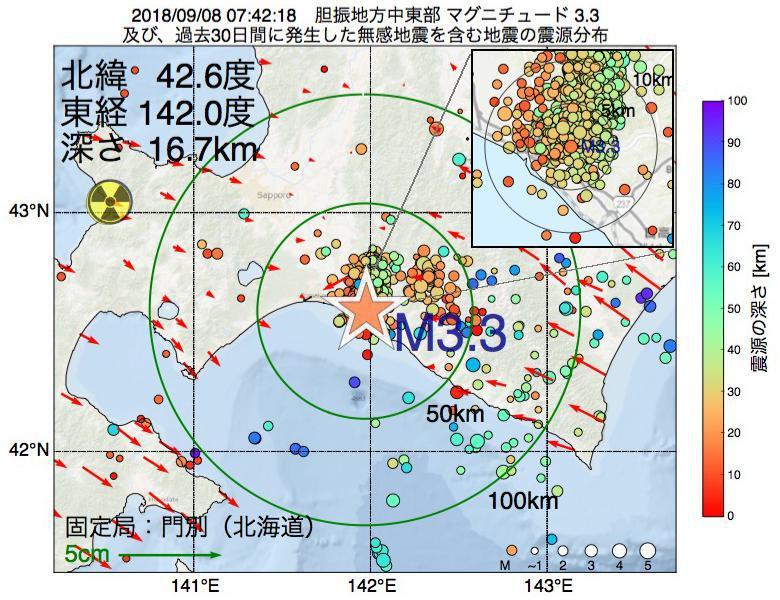 地震震源マップ:2018年09月08日 07時42分 胆振地方中東部でM3.3の地震