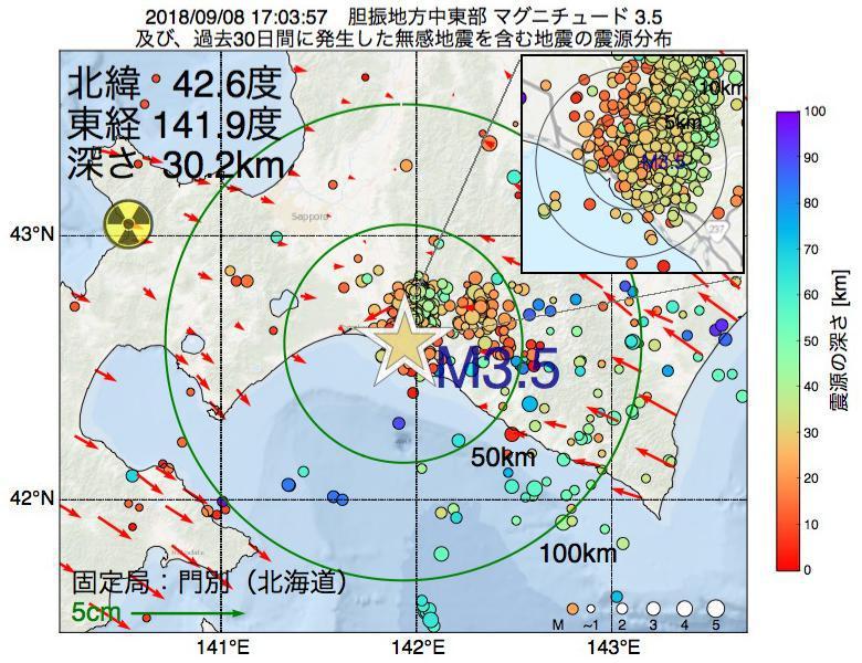 地震震源マップ:2018年09月08日 17時03分 胆振地方中東部でM3.5の地震