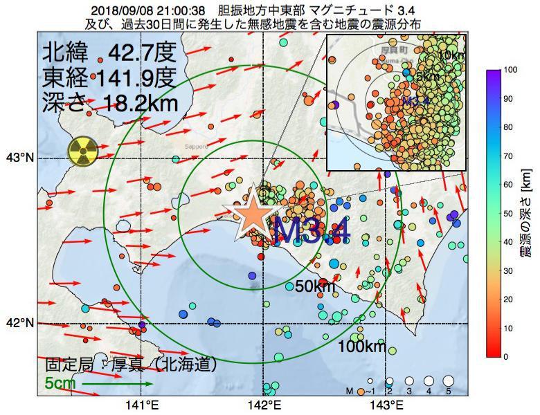 地震震源マップ:2018年09月08日 21時00分 胆振地方中東部でM3.4の地震