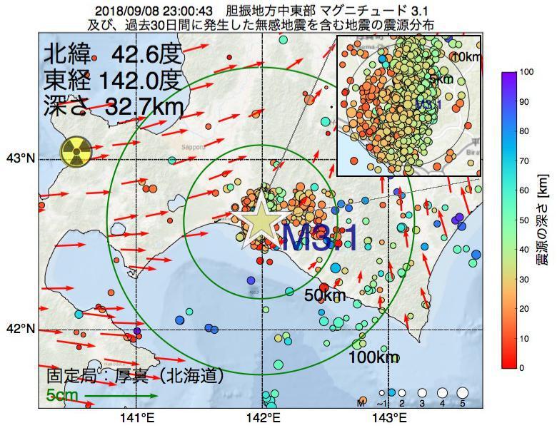 地震震源マップ:2018年09月08日 23時00分 胆振地方中東部でM3.1の地震
