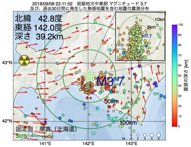 地震震源マップ:2018年09月08日 23時11分 胆振地方中東部でM3.7の地震