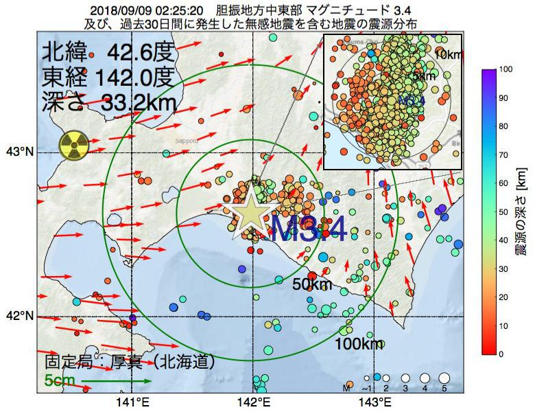 地震震源マップ:2018年09月09日 02時25分 胆振地方中東部でM3.4の地震
