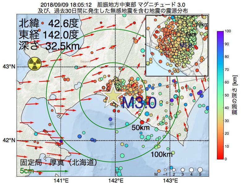 地震震源マップ:2018年09月09日 18時05分 胆振地方中東部でM3.0の地震