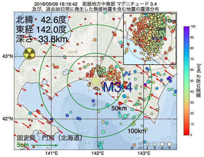 地震震源マップ:2018年09月09日 18時16分 胆振地方中東部でM3.4の地震