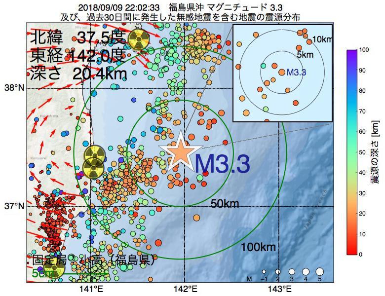 地震震源マップ:2018年09月09日 22時02分 福島県沖でM3.3の地震