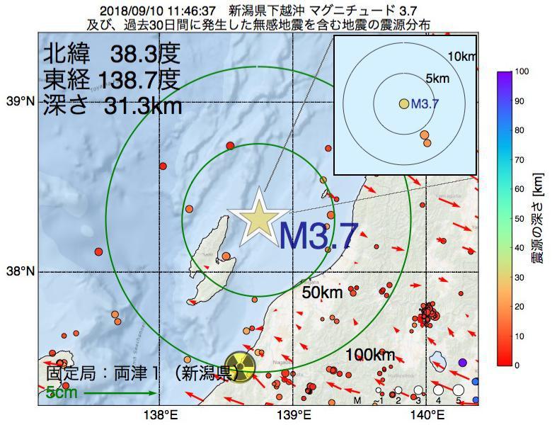 地震震源マップ:2018年09月10日 11時46分 新潟県下越沖でM3.7の地震