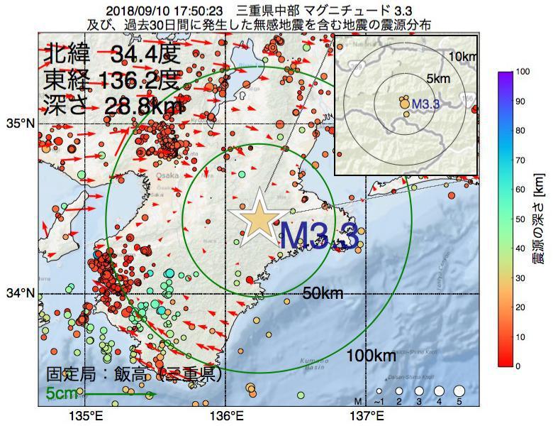 地震震源マップ:2018年09月10日 17時50分 三重県中部でM3.3の地震