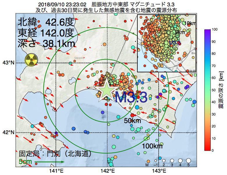 地震震源マップ:2018年09月10日 23時23分 胆振地方中東部でM3.3の地震