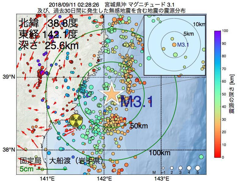 地震震源マップ:2018年09月11日 02時28分 宮城県沖でM3.1の地震