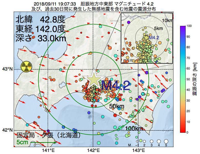 地震震源マップ:2018年09月11日 19時07分 胆振地方中東部でM4.2の地震