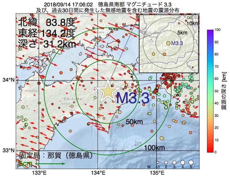 地震震源マップ:2018年09月14日 17時06分 徳島県南部でM3.3の地震