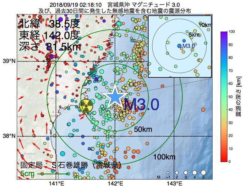 地震震源マップ:2018年09月19日 02時18分 宮城県沖でM3.0の地震
