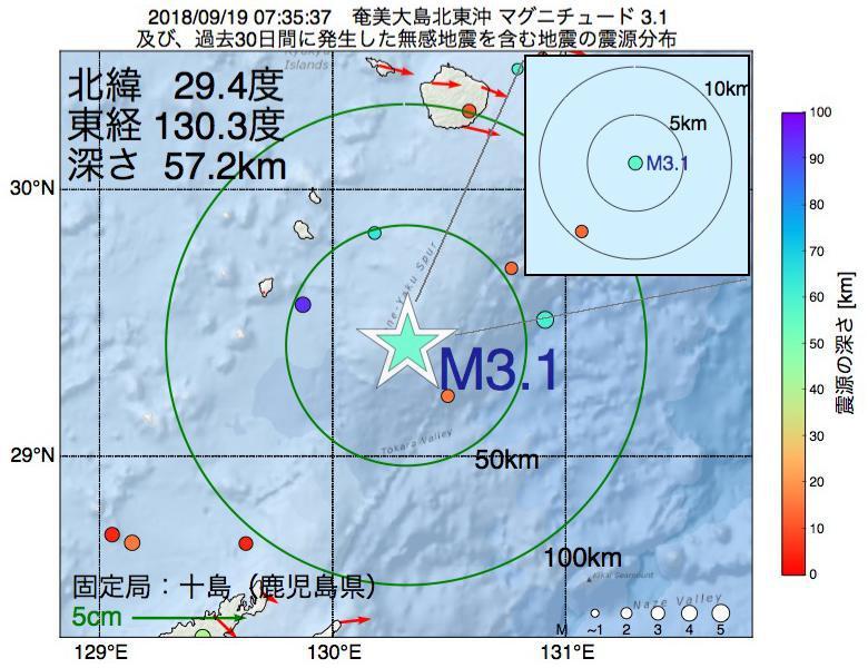 地震震源マップ:2018年09月19日 07時35分 奄美大島北東沖でM3.1の地震