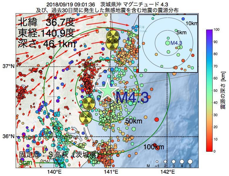 地震震源マップ:2018年09月19日 09時01分 茨城県沖でM4.3の地震