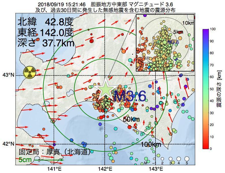 地震震源マップ:2018年09月19日 15時21分 胆振地方中東部でM3.6の地震