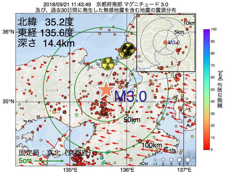 地震震源マップ:2018年09月21日 11時43分 京都府南部でM3.0の地震