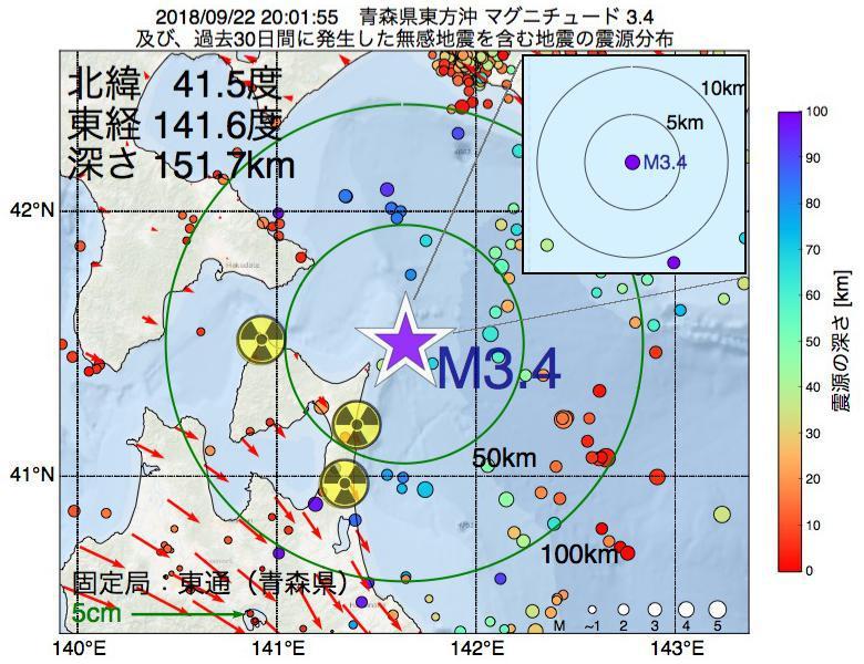地震震源マップ:2018年09月22日 20時01分 青森県東方沖でM3.4の地震