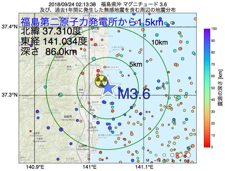 地震震源マップ:福島第二原子力発電所から1.5km地点でM3.6の地震が発生しました