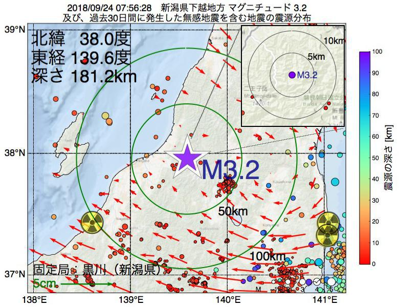地震震源マップ:2018年09月24日 07時56分 新潟県下越地方でM3.2の地震