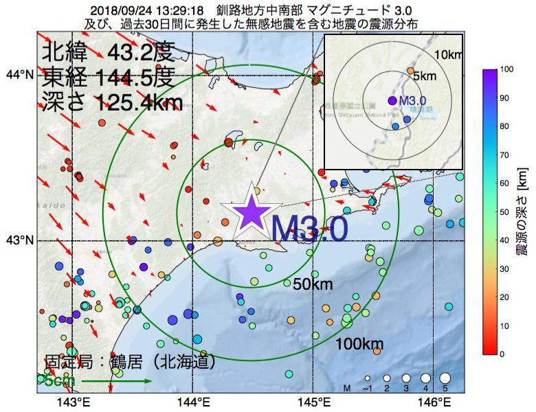 地震震源マップ:2018年09月24日 13時29分 釧路地方中南部でM3.0の地震