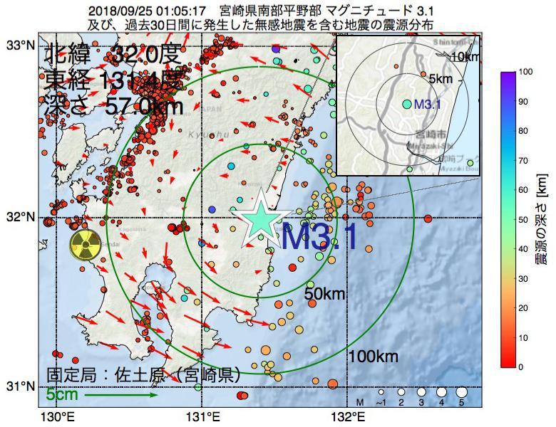 地震震源マップ:2018年09月25日 01時05分 宮崎県南部平野部でM3.1の地震