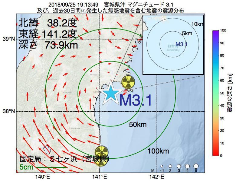 地震震源マップ:2018年09月25日 19時13分 宮城県沖でM3.1の地震
