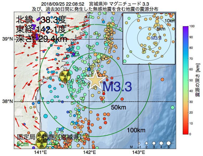 地震震源マップ:2018年09月25日 22時08分 宮城県沖でM3.3の地震