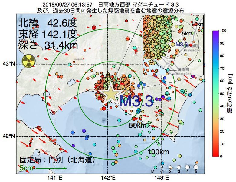 地震震源マップ:2018年09月27日 06時13分 日高地方西部でM3.3の地震