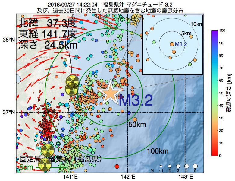 地震震源マップ:2018年09月27日 14時22分 福島県沖でM3.2の地震