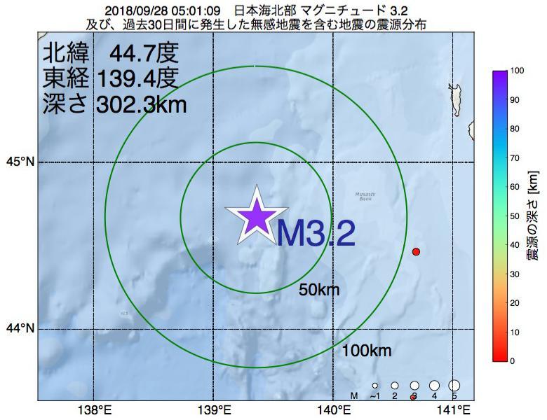 地震震源マップ:2018年09月28日 05時01分 日本海北部でM3.2の地震
