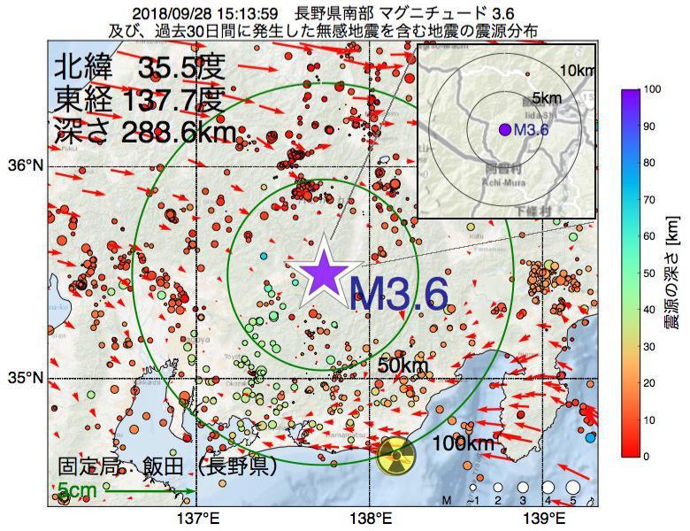 地震震源マップ:2018年09月28日 15時13分 長野県南部でM3.6の地震