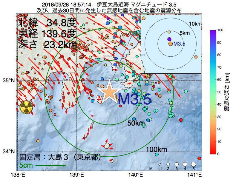 地震震源マップ:2018年09月28日 18時57分 伊豆大島近海でM3.5の地震