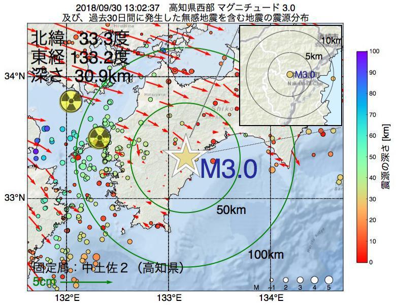 地震震源マップ:2018年09月30日 13時02分 高知県西部でM3.0の地震