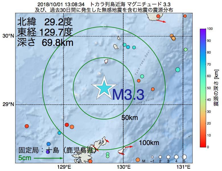 地震震源マップ:2018年10月01日 13時08分 トカラ列島近海でM3.3の地震