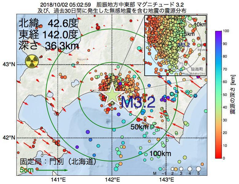 地震震源マップ:2018年10月02日 05時02分 胆振地方中東部でM3.2の地震