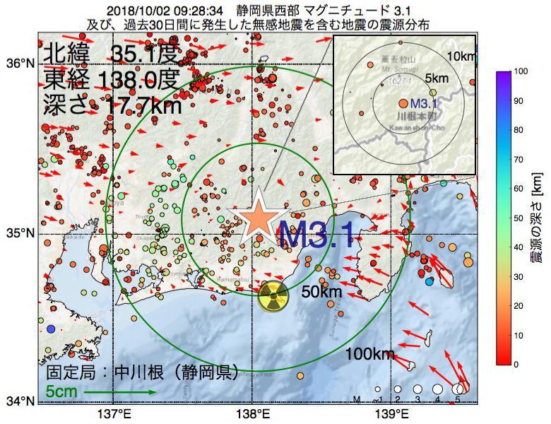 地震震源マップ:2018年10月02日 09時28分 静岡県西部でM3.1の地震